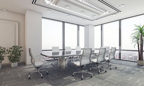 A conference room after disinfecting and sanitizing services.