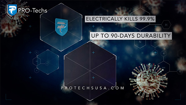 Pro-TECHs Electrically Kills 99.9% up to 90 Days of Durability Graphic